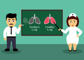 Smoker and doctor health care concept smoker x s lungs and healthy lungs flat design element vector illustration Stock Photo