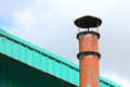 Smokestack pollution with blue sky background Royalty Free Stock Images