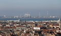 Smokestacks and factories polluting with smoke near venice in italy Stock Photos