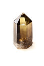 Smokey black quartz crystal over white a point standing on end shot on background Stock Image