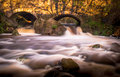 Smokey waterfall in autumn duntocher burn spate Stock Photos