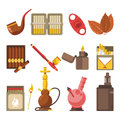 Smoking appliances and cigarettes accessories vector flat isolated icons set