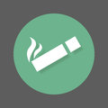 Smoking area flat icon. Round colorful button, circular vector sign with shadow effect. Flat style design.