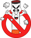 Smoking ban cartoon with an angry cigarette mascot Royalty Free Stock Photos
