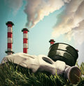 Smoking chimneys polluting the environment of planet earth toned image Royalty Free Stock Image