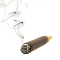A smoking cigar on white Royalty Free Stock Image