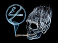 Smoking is dangerous death cigarette with smoke forming into sign of ban Royalty Free Stock Photo