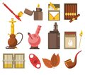 Smoking devices and tobacco products isolated icons, pipe and hookah