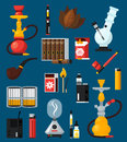 Smoking Flat Colored Icons Set