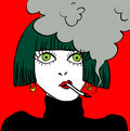 Smoking girl caricature vector illustration Royalty Free Stock Photo