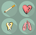 Smoking harm icons and cigarette icon. Suffering heart, lungs and tooth. Vector illustrations set in retro modern style