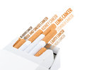 Smoking kills cancer info text graphics and arrangement concept on white background Stock Photography