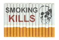 Smoking kills conceptual image with skull on cigarettes Royalty Free Stock Photography