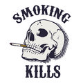 Smoking kills human skull with cigarette isolated on white back background design element in vector Royalty Free Stock Photos
