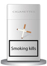 Smoking kills a pack of cigarettes on which the image of cigarettes a cross and signed hut Royalty Free Stock Image