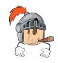 Smoking  knight head cartoon Royalty Free Stock Photo