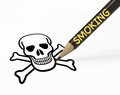 Smoking leads to death concept of leading with pencil drawing skull Stock Photography