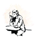 Smoking man in cafe with coffee cup and cigarette, sketch. Royalty Free Stock Photo