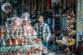 Smoking man in turkish market in Istanbul, Turkey Royalty Free Stock Photo