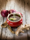 Smoking miso soup with ginger Royalty Free Stock Photo