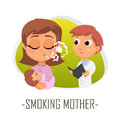 Smoking mother medical concept. Vector illustration.