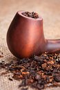 Smoking pipe and tobacco Stock Photography