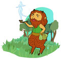 Smoking satyr the s fantasy Stock Photo