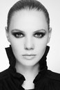 Smoky eyes black and white portrait of beautiful stylish young woman with smokey Stock Images