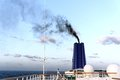 Smoky funnel black smoke from ship s suggesting airborne pollution at sea Royalty Free Stock Photography