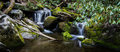 Smoky mountain waterfall panorama double in the great mountains national park along the little river road natural color in Stock Image