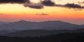 Smoky Mountains ridge at cloudy sunset Royalty Free Stock Photo