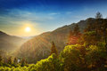 Smoky mountains sunset at the newfound gap in the great Royalty Free Stock Photography