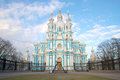 Smolny Cathedral close up in the cloudy May afternoon. Saint Petersburg, Russia Royalty Free Stock Photo