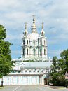 Smolny cathedral convent or convent of resurrection located on ploschad rastrelli on bank of river neva in saint petersburg russia Royalty Free Stock Image