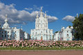 Smolny cathedral saint petersburg is a famous building by architect francesco bartolomeo rastrelli constructed in years Royalty Free Stock Photos