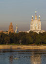 Smolny cathedral in saint petersburg view of russia Royalty Free Stock Photography
