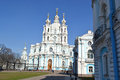 Smolny cathedral at sunny weather saint petersburg russia Stock Image