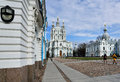 Smolny convent of the resurrection in st petersburg russia april people on rastrelli square front s main church Royalty Free Stock Images