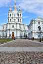 Smolny convent of the resurrection in st petersburg russia april people on rastrelli square front s main church Royalty Free Stock Photos