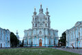 Smolny convent saint petersburg russia of the resurrection on ploschad rastrelli in shortly after sunset Royalty Free Stock Photo