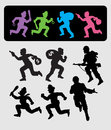 Smooth and detail black shadow running people vector policeman thief robber and soldier Royalty Free Stock Image