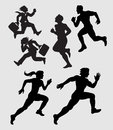 Smooth and detail people running silhouettes male and female activity businessman and athlete Royalty Free Stock Photography