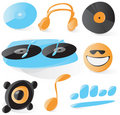 Smooth dj icons Royalty Free Stock Photo