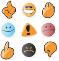 Smooth emoticon and cursor icons Stock Image