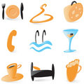 Smooth hotel service icons Royalty Free Stock Photo