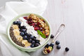 Smoothie bowl with chia, banana, blueberry Royalty Free Stock Photo