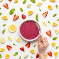 Smoothie bowl in layout of fruit Royalty Free Stock Photo