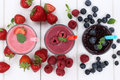 Smoothie fruit juice milkshake with fruits from above Royalty Free Stock Photo