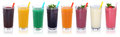 Smoothie fruit juice smoothies drinks with fruits in a row isola