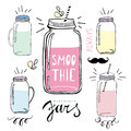 Smoothie Jars Set. Hand Drawn ...